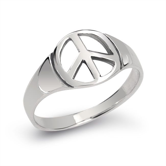 Unisex Sterling Silver Symbol Peace Sign Ring Rings Pinterest