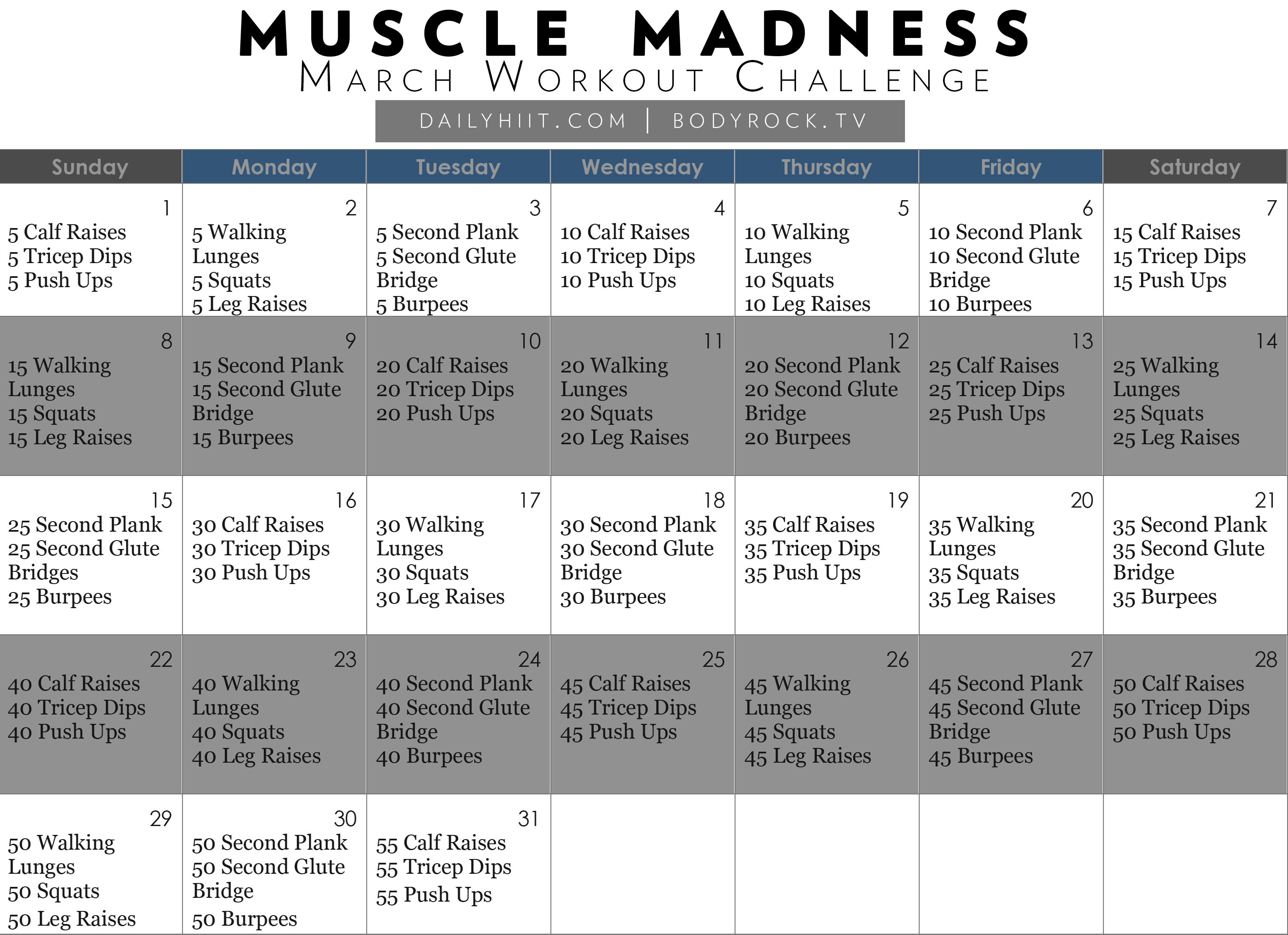 Muscle Madness March Workout Challenge (FREE CALENDAR