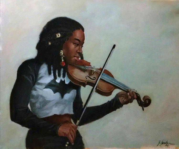 Jerry Jordan, figurative portraiture, African-Americans, girl with violin