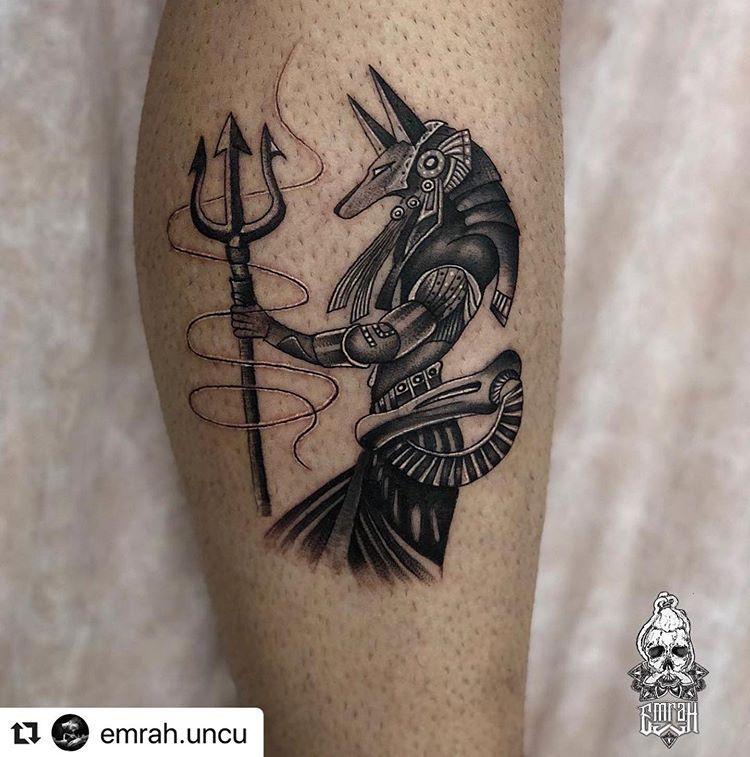 Artist:  @emrah.uncu・・・• A N U B I S • stole POSEIDON's spear #ink #tattoo #tattoosocial #tattooink #LinkForInk #tattoos #art #design #tat #geometrip #emrahuncu #tattoopia #TAOT #tattoomagazine #tattoobullsupply #tattoobullproteam #d_world_of_ink #tattootalents #tradwork   Artist: @ag.artcollective
