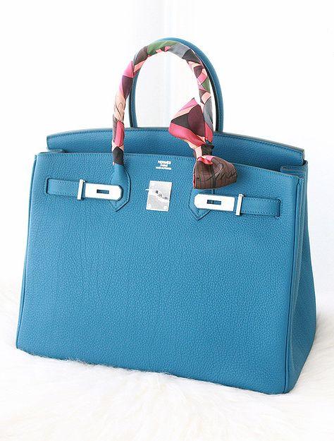 8ee1f2490e5 Hermes blue Birkin bag and silk Twilly.
