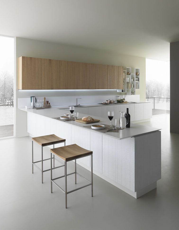 Zampieri - #Y kitchen in white lacquered vintage oak and bleached - cocinas italianas