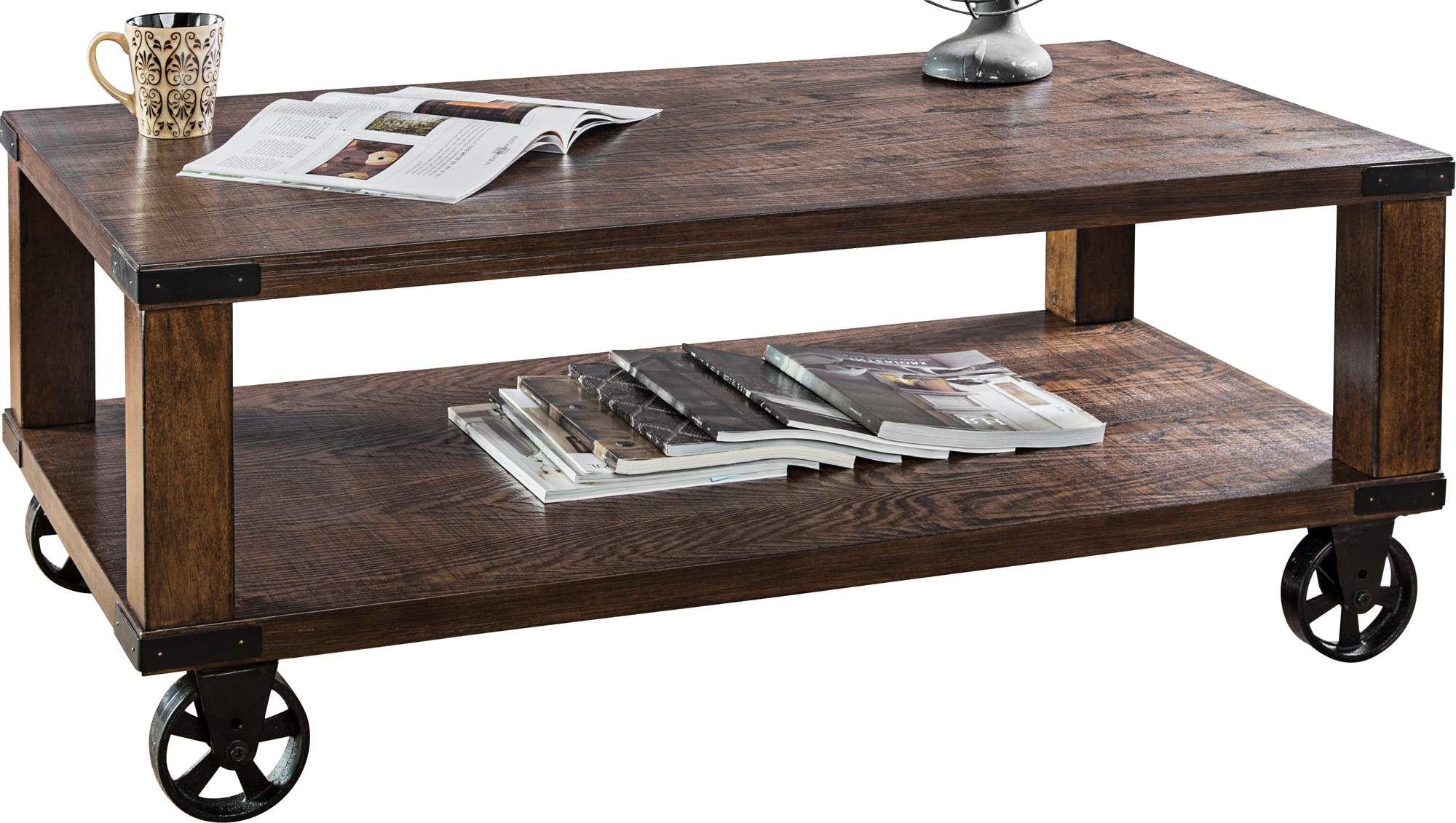 Veria 48 Inch Wide Dark Oak Industrial Wheeled Coffee Table In