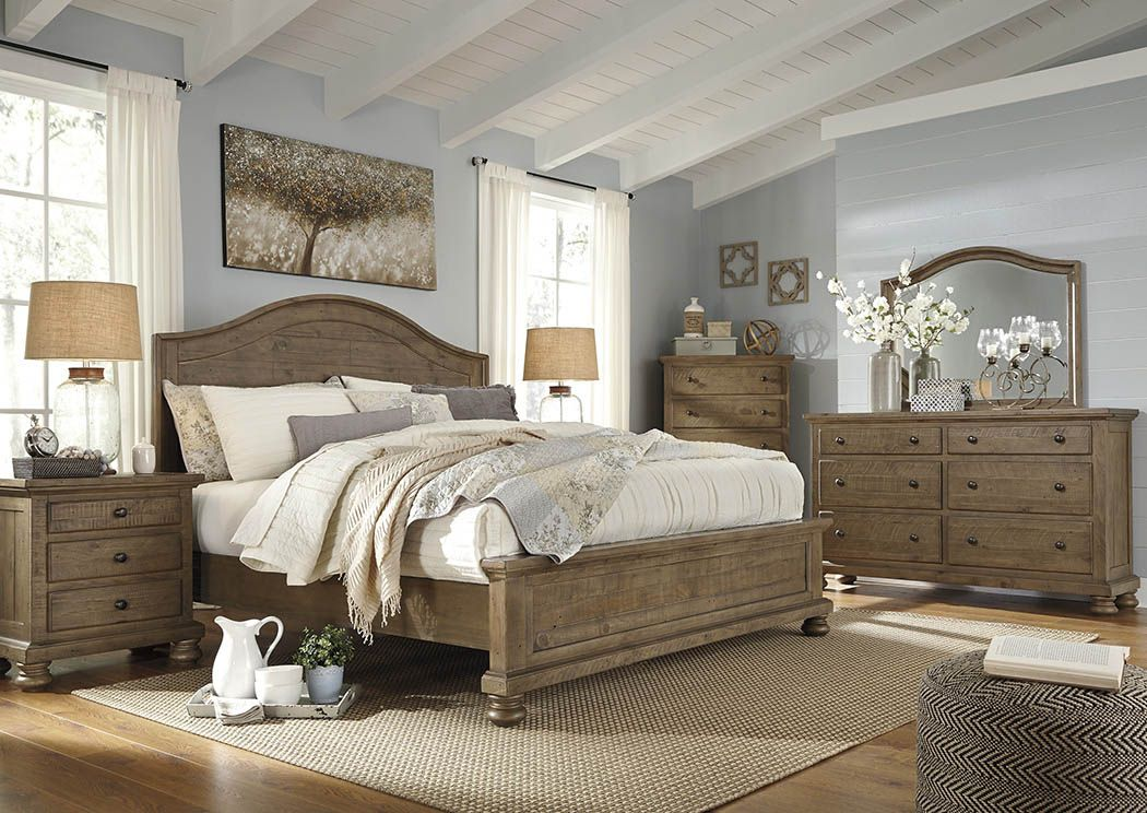 Ramos Furniture Trishley Light Brown California King Panel Bed Alluring Cal King Bedroom Sets Inspiration