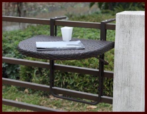 balkon h nge tisch ablage gel nder m bel halbrund tablett garten kaffee klappbar ebay. Black Bedroom Furniture Sets. Home Design Ideas