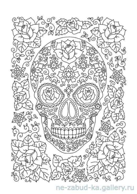Day Of The Dead Coloring Page Skull Coloring Pages