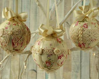 Shabby chic christmas ornaments bauble set fabric tree - Decoration boule de noel en polystyrene ...