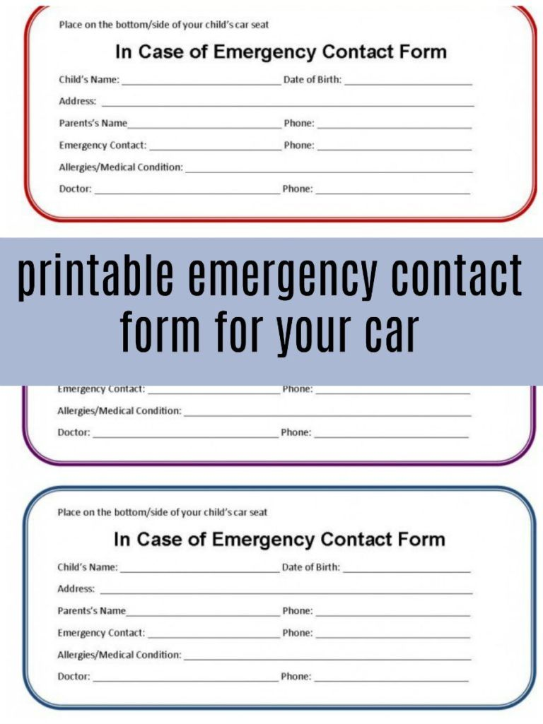 Printable Emergency Contact Form For Car Seat Eat Travel Life Emergency Contact Form Emergency Contact Emergency Contact List