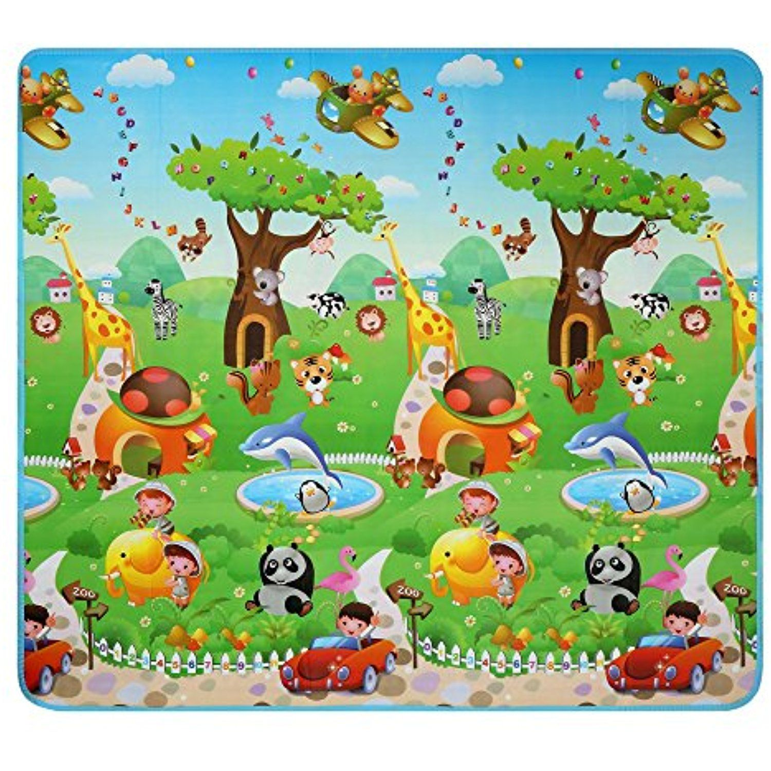 Balanu Baby Play Mat Foam Floor Gym Non Toxic Non Slip 70 2x78 Inches Reversible Thick Extra Large Foam Playm Baby Play Mat Foam Baby Play Mat Cool Baby Stuff