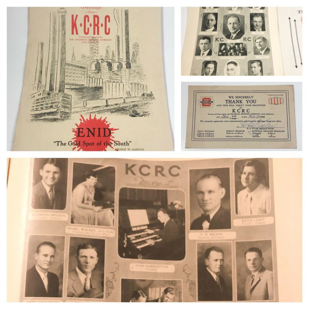 Vintage Booklet Card Radio Station Kcrc Champlin Refining Co Enid Oklahoma 1930 With Images Radio Station Retro Metal Signs Tv On The Radio