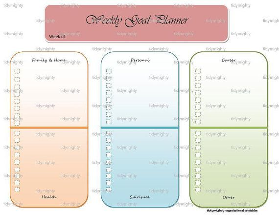 Weekly Goal Planner / Checklist - Printable Pdf By Tidymighty
