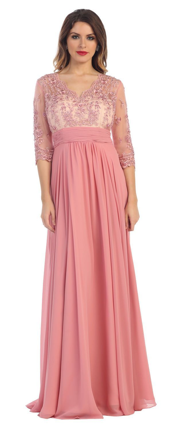 Long Mother of the Bride Formal Dress with Sleeves 2018