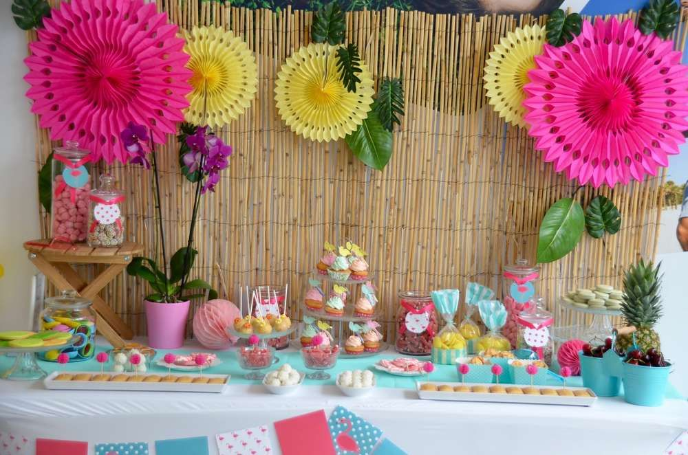 Tropical Summer Cocktail Party Ideas Dessert Table