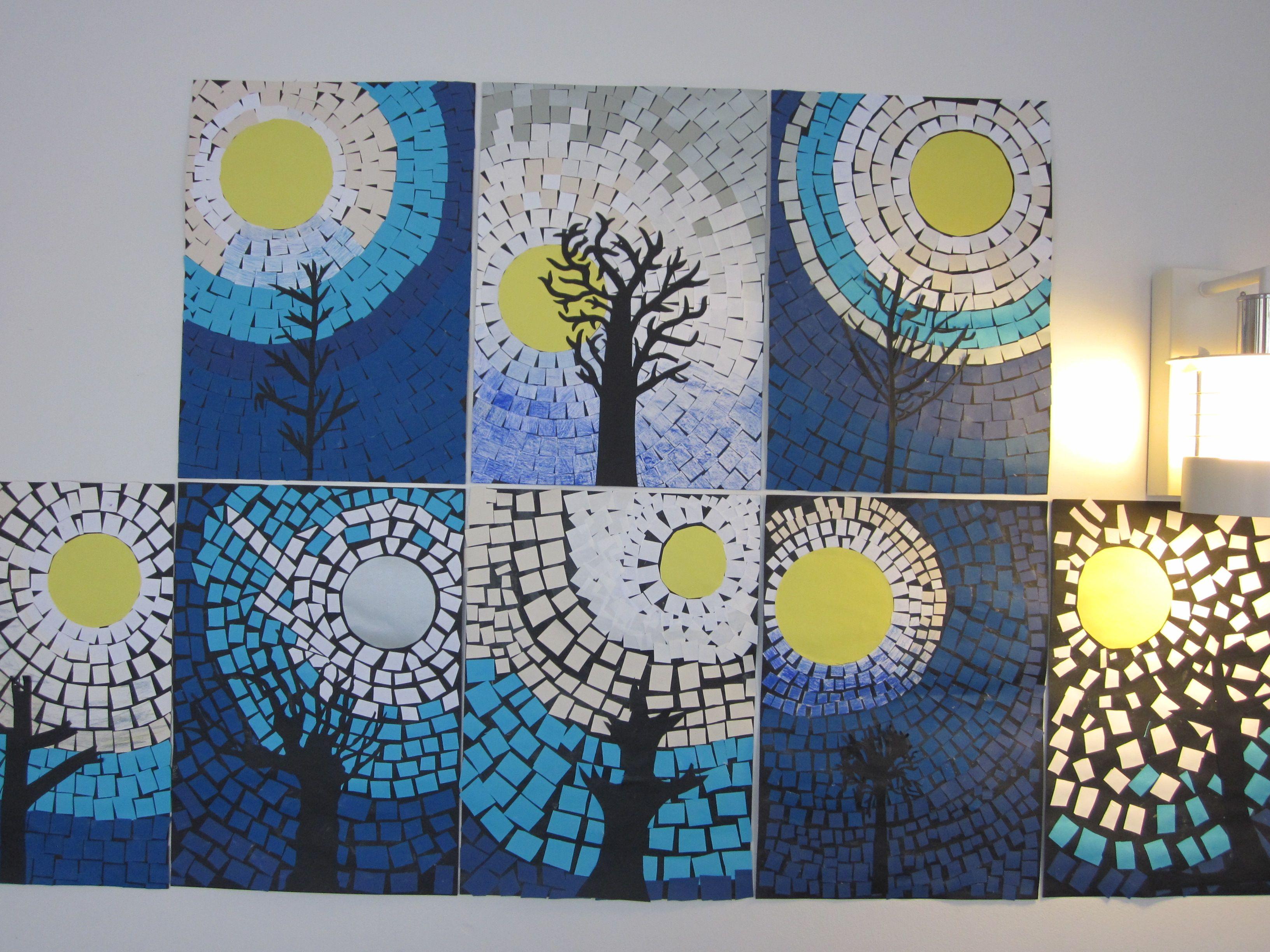 Mosaiikkityö, talvinen puu kuutamolla