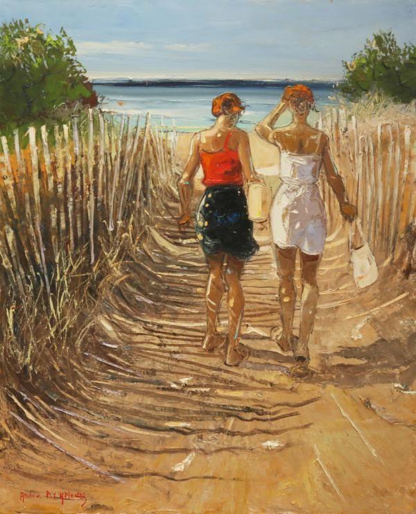 Vers la plage 73x60 cm Huile sur toile | z art: André Deymonaz en 2019 | Inspiration peinture ...