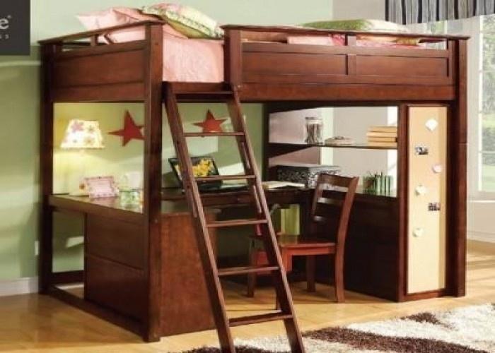 Stylish Full Size Wood Loft Bed Childrens Student Full Sized Loft