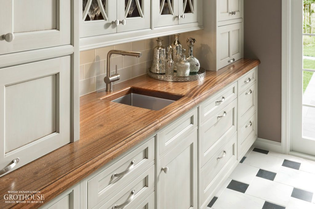 Butcher Block Counters Love The Look With The Backsplash And White Cabinets Diy Butcher Block Countertops Kitchen Diy Makeover Kitchen Design