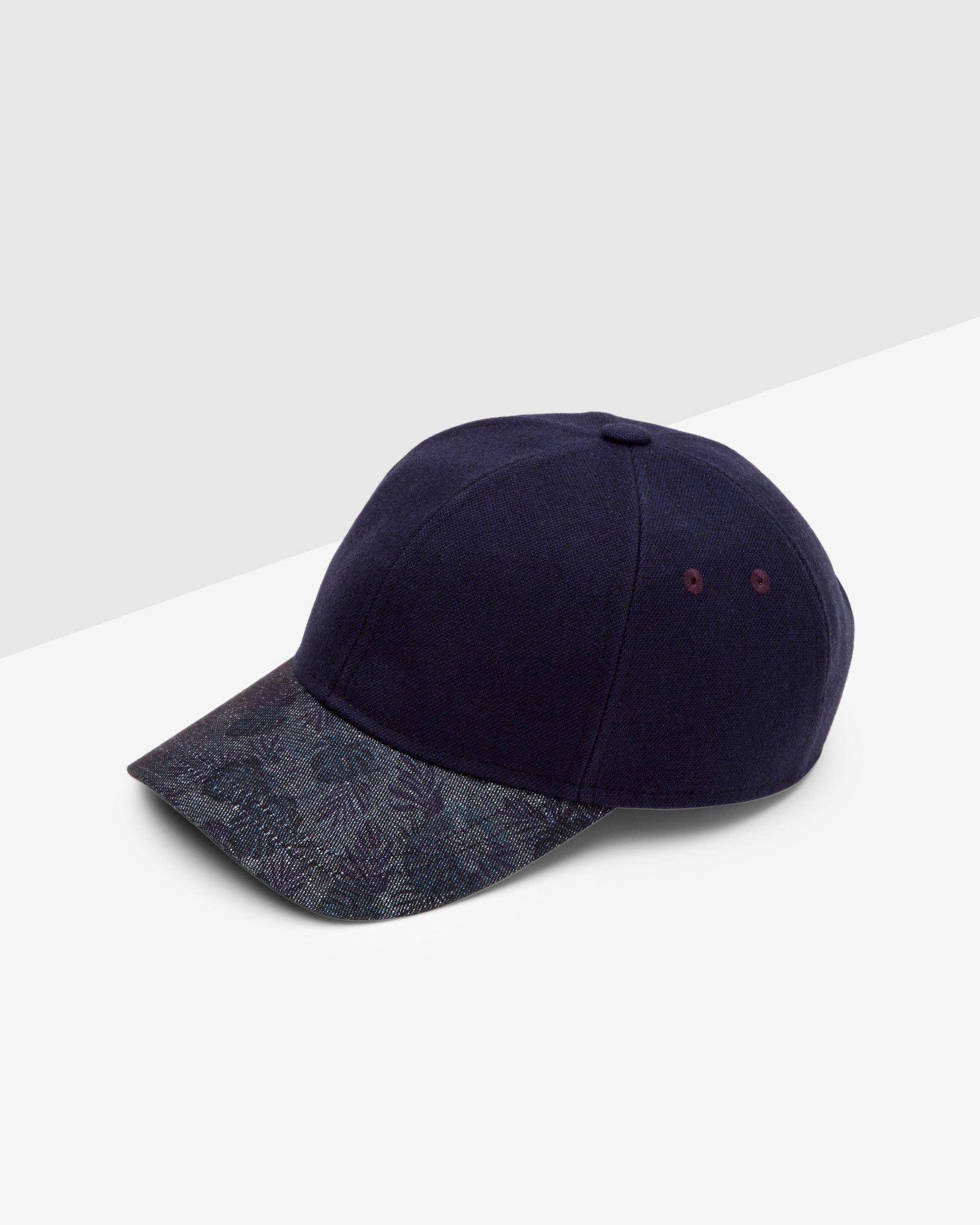 60e43f24508 Textured floral baseball cap - Navy