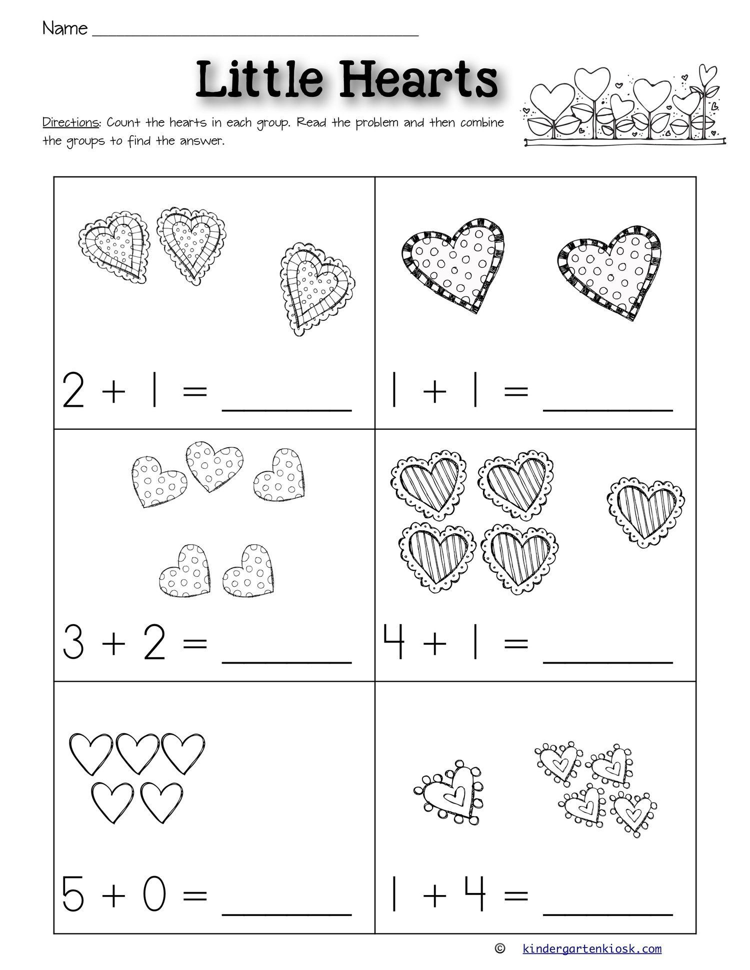 Addition 0 5 Worksheets February Kindergarten Kiosk February Worksheets Kindergarten Worksheets Kindergarten Worksheets Printable Addition worksheet for kg