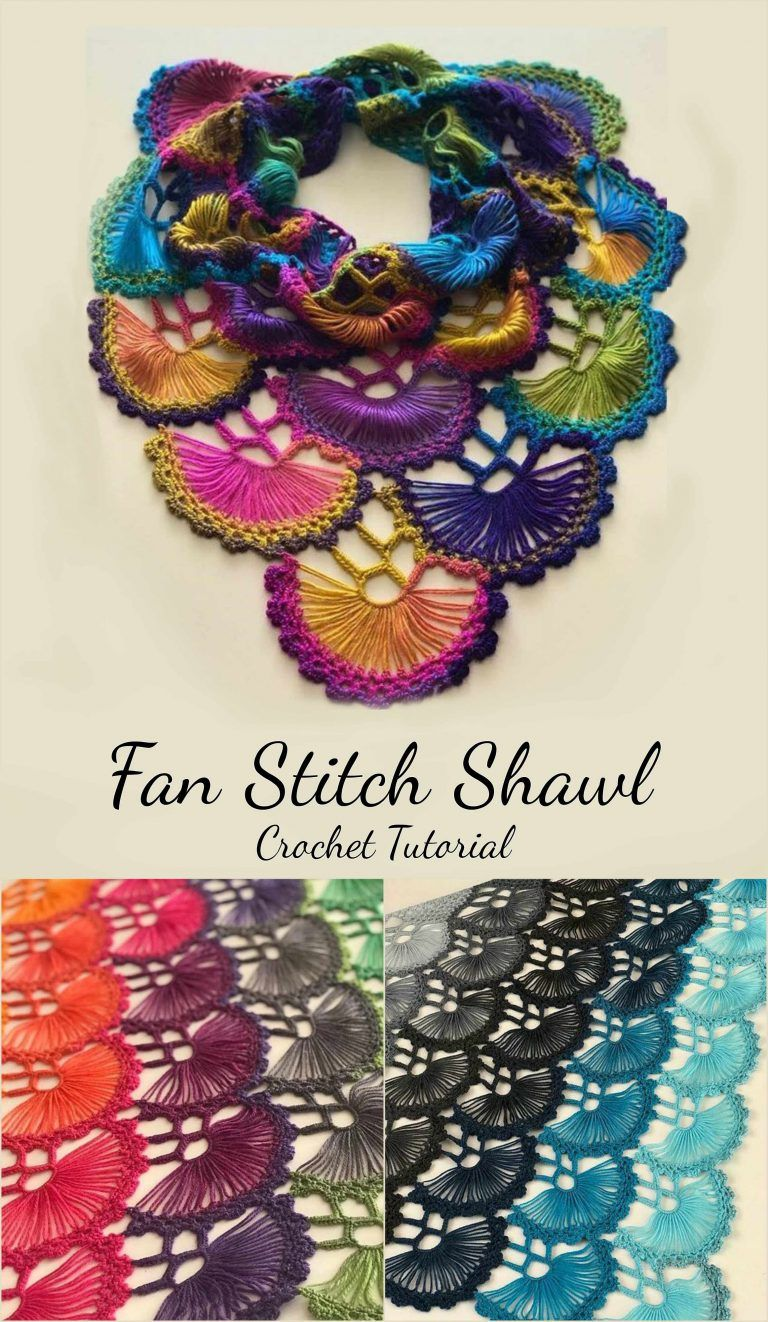 Fan Stitch Shawl Crochet Tutorial | U-Tube Tutorial | Pinterest ...