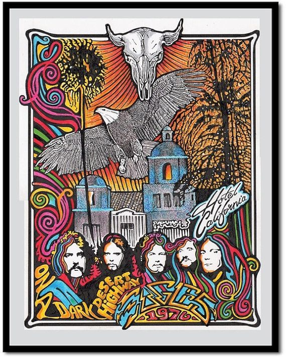 Eagles Hotel California Art Print By Posterography Band