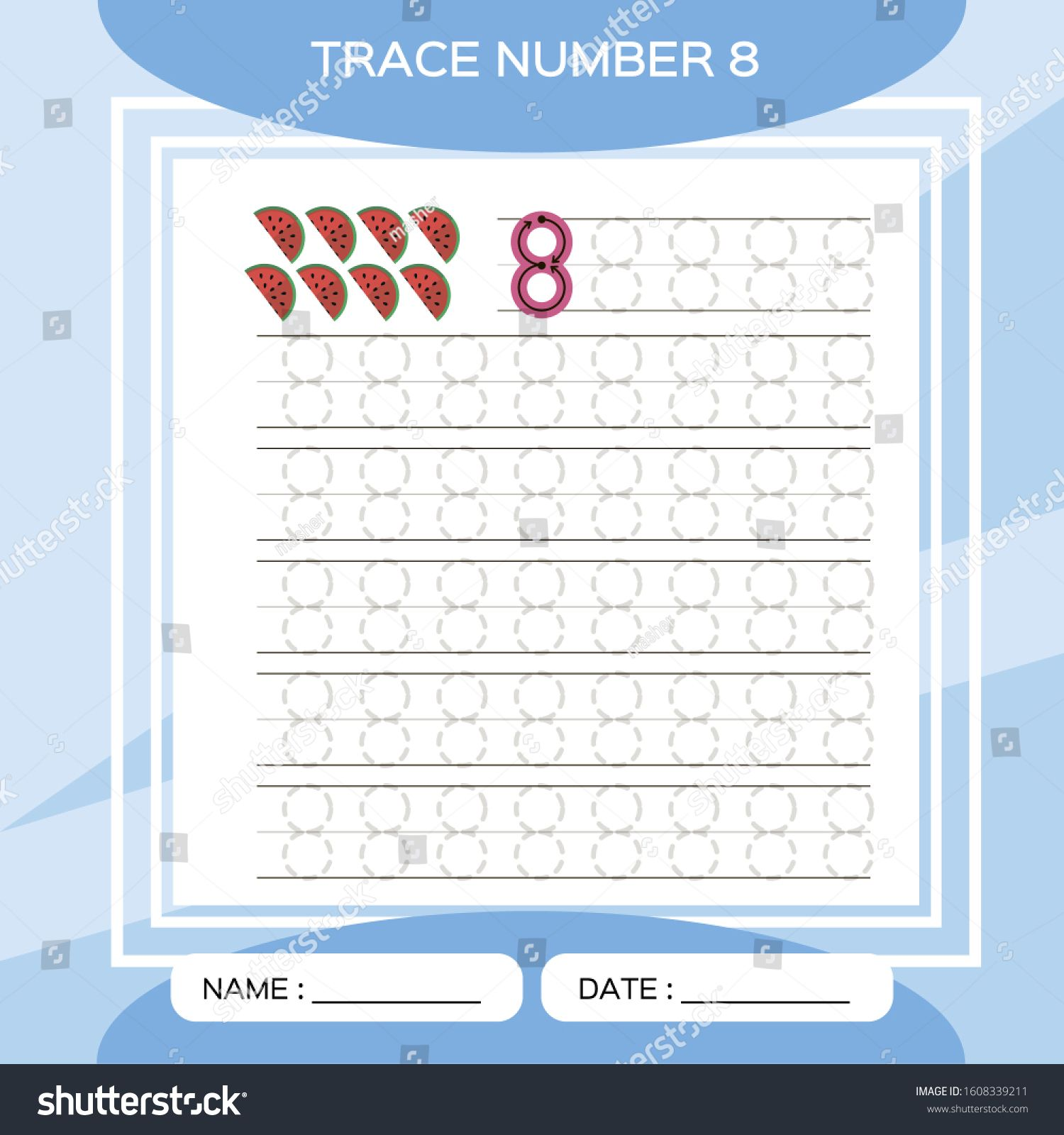 Trace Number 8 Eight Children Educational Game Kids