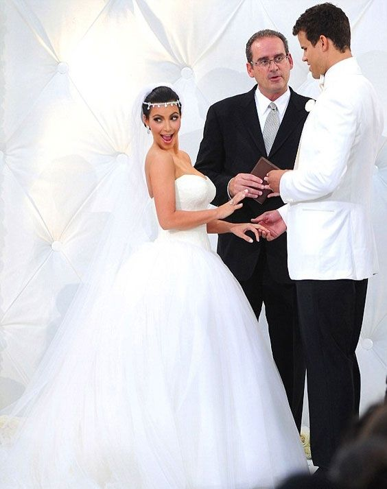 Kim Kardashian wore three different Vera Wang gowns for her wedding ...