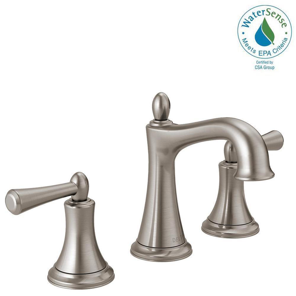 Delta Rila 8 In Widespread 2 Handle Bathroom Faucet In Spotshield Brushed Nickel 35774lf Sp The Home Bathroom Faucets Shower Panels Brushed Nickel Bathroom