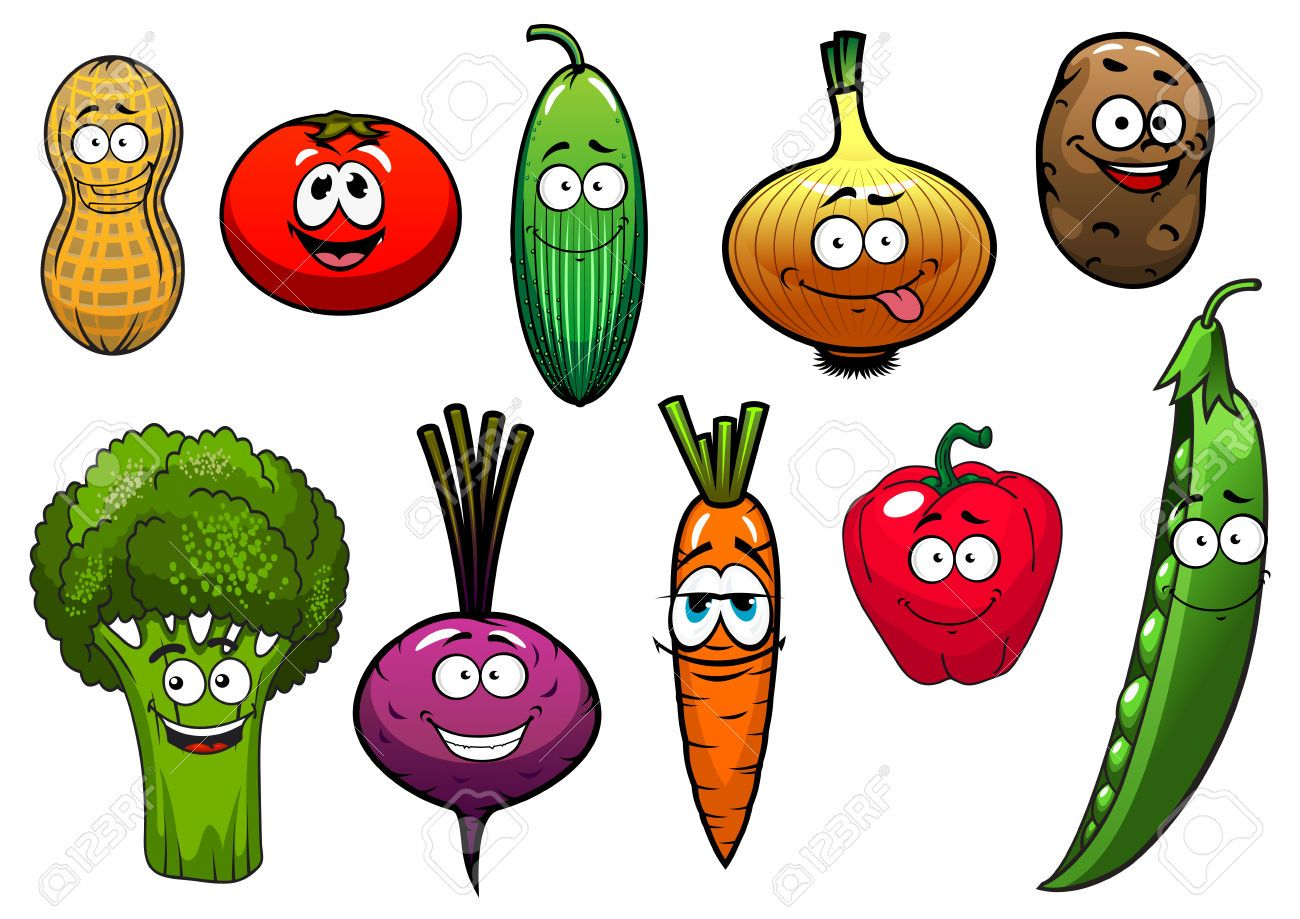 41049578 Cartoon Vegetables Characters With Tomato Carrot Cucumber Onion Potato Pepper Broccoli Beet Peanut P Stock Vegetable Cartoon Fruit Cartoon Vegetables