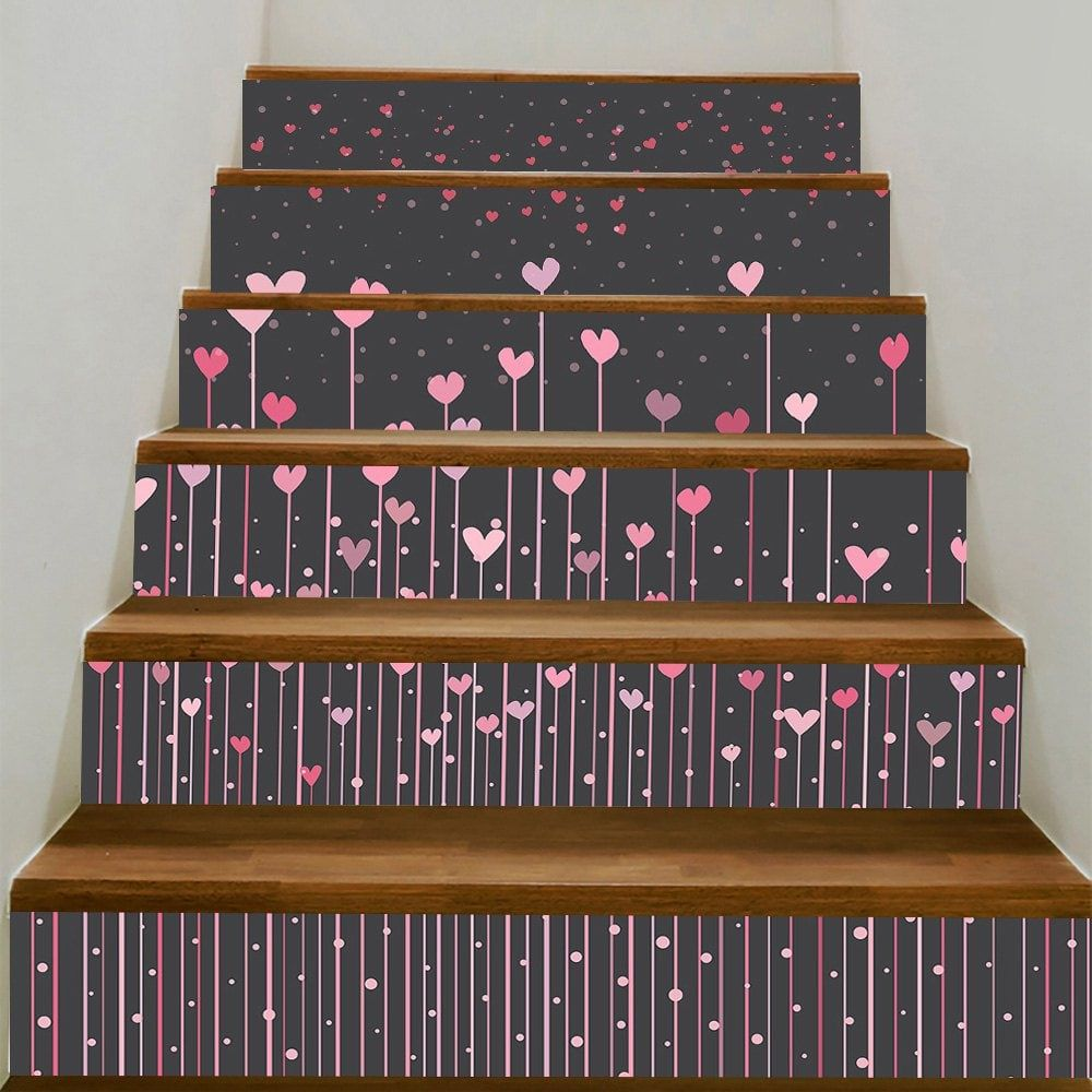 Carved Wood Stair Risers Stair Ideas Stamped Leather: Hearts Hanging Printed Decorative Stair Stickers