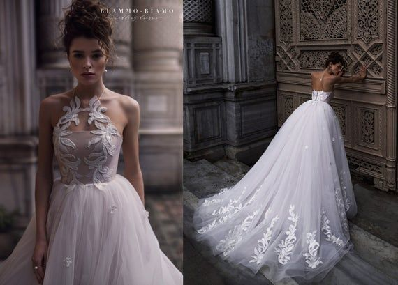 Photo of Wedding dress ULA with long train by Blammo-Biamo • Floaty weddng dress • Bridal gown with long train • A-line wedding dress