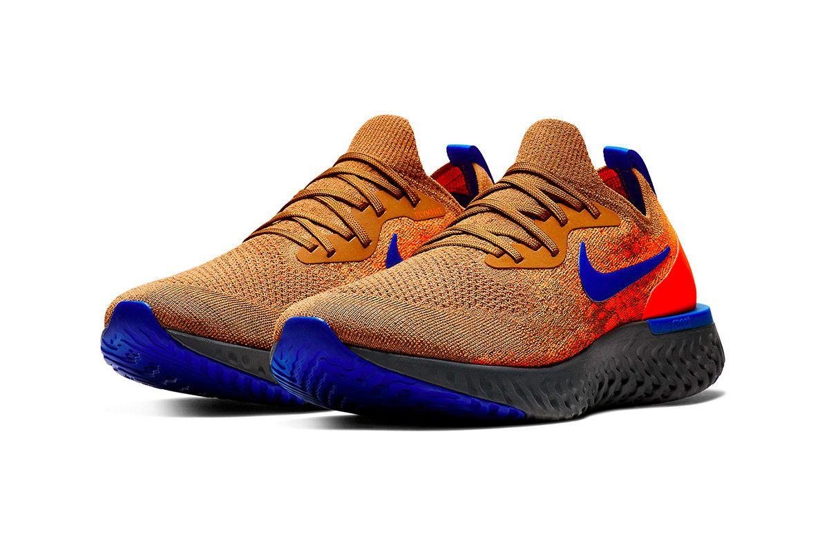 official photos 03914 ecab2 Nike Epic React Flyknit Release Golden Beige Racer Blue Total Orange