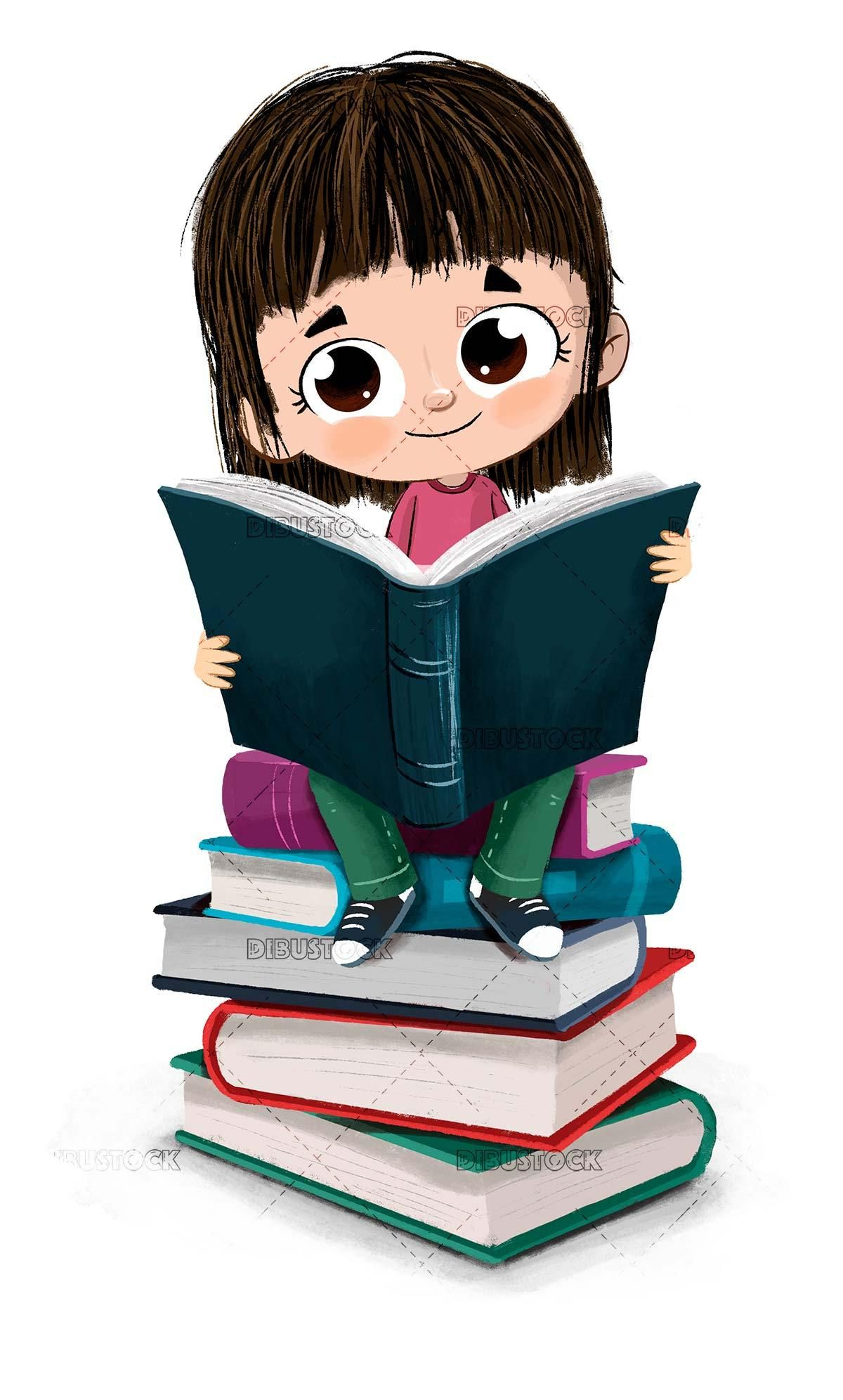 Little girl reading sitting on a pile of books | Girl reading book, Art  drawings for kids, Kids cartoon characters