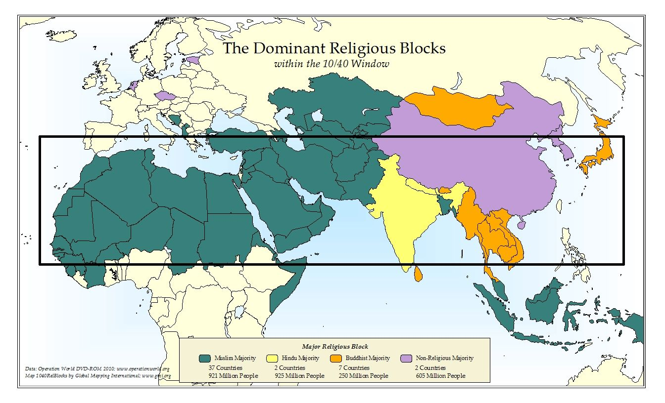Dominant religious blocks by country in the 10/40 window. For more on