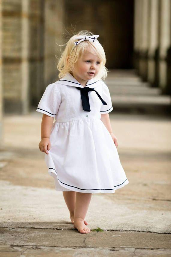 Mädchen Sailor Kleid Maritimes Kleid Weißes Taufkleid