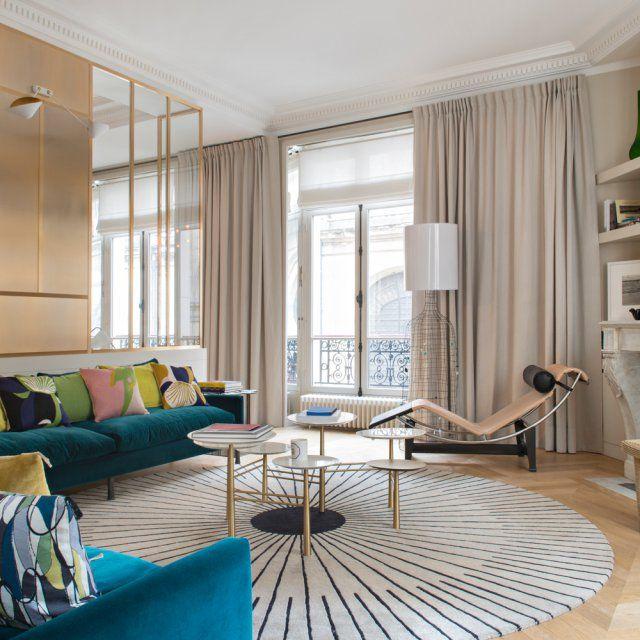 Un appartement pile dans l 39 air du temps salons living - Rideaux salle a manger salon ...
