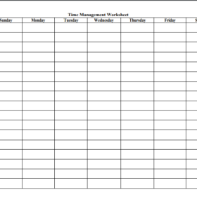 Time Management Worksheet Templates
