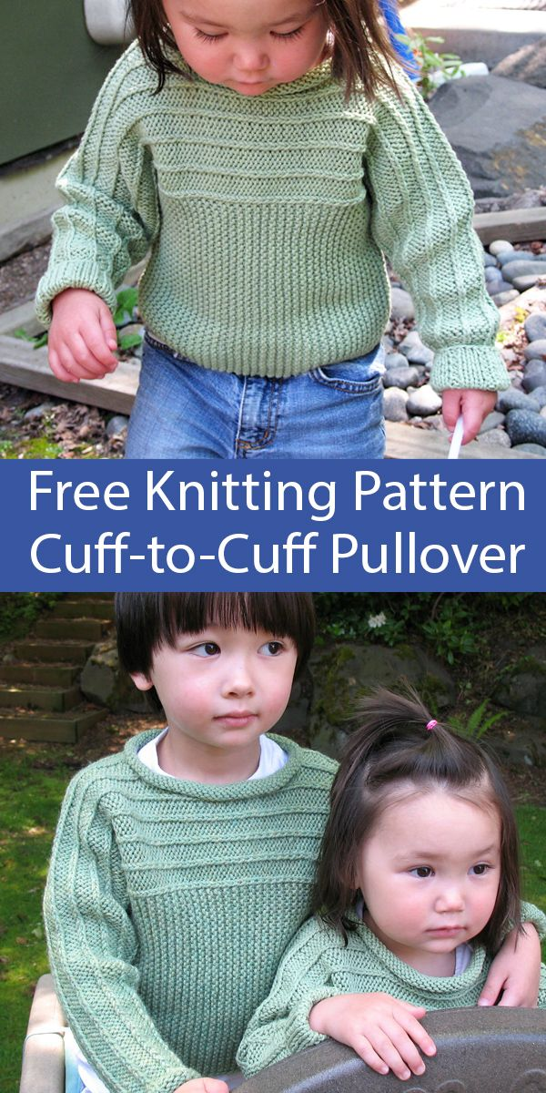 Photo of Free Knitting Pattern for Child's Sweater Cuff-to-Cuff Pullover for ages 4 through 10