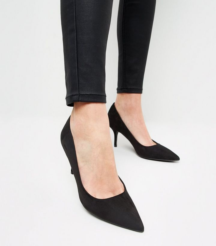 e763f5d43f5 Black Suedette Mid Heel Pointed Courts in 2019