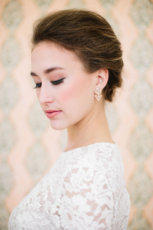 Elegant Bridal Look Natural Wedding Makeup Light Pink Lip Peach Cheek Long Black Lashes Cat Eye Liner See More On Borrowedandblue Riverland