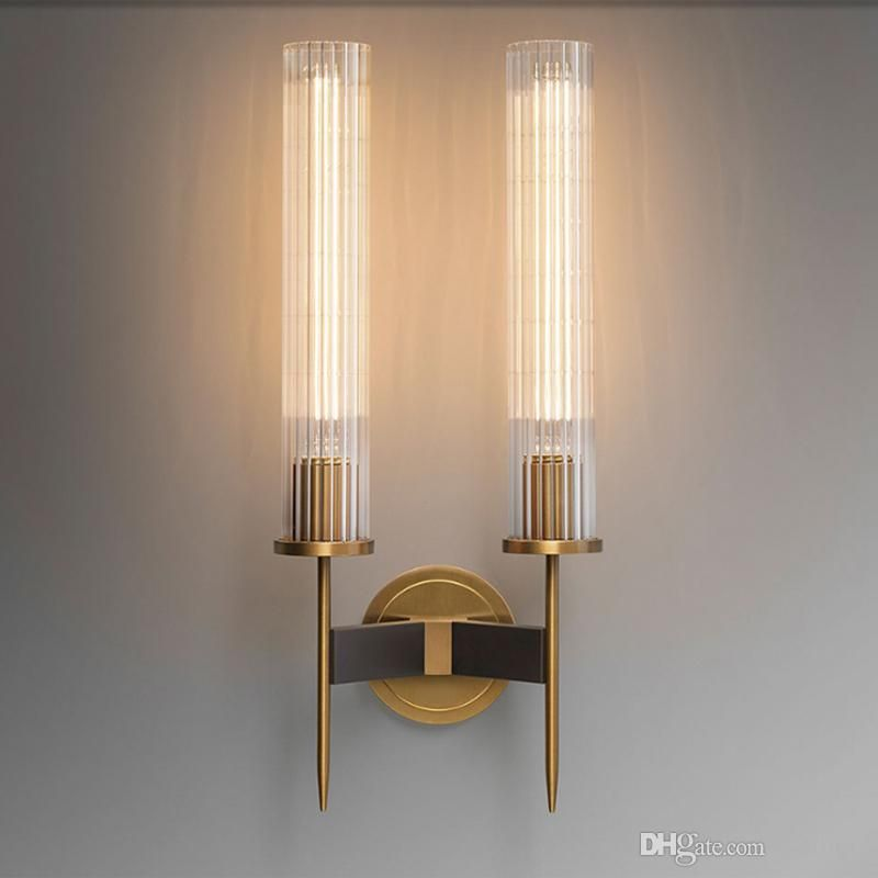 2018 Modern Brass Wall Lamp Ribbed Glass Shade Vintage Wrought
