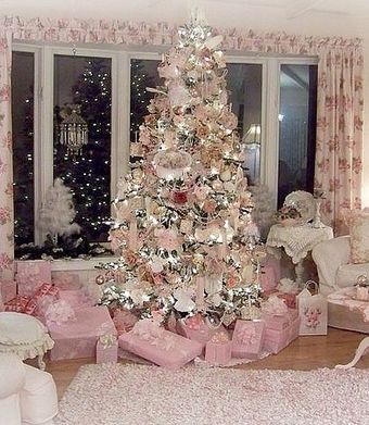 Christmas Decorating Idea: Pretty Pink Living Room Via Penny Phillips