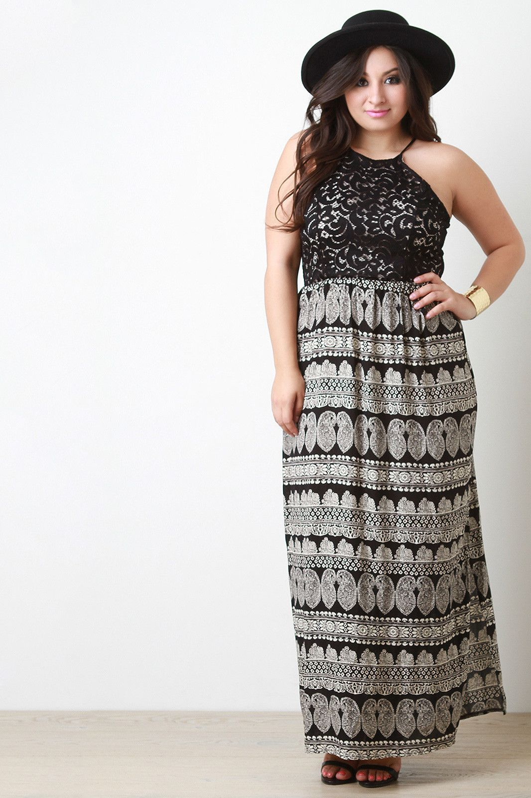 Plus size lace and paisley contrast maxi dress stuff to buy