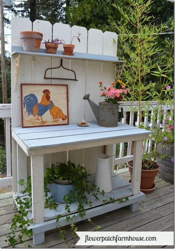 Flowerpatch Farmhouse: Mega Millions Potting Bench. Featured on the Clever Chicks Blog Hop 5-26-13