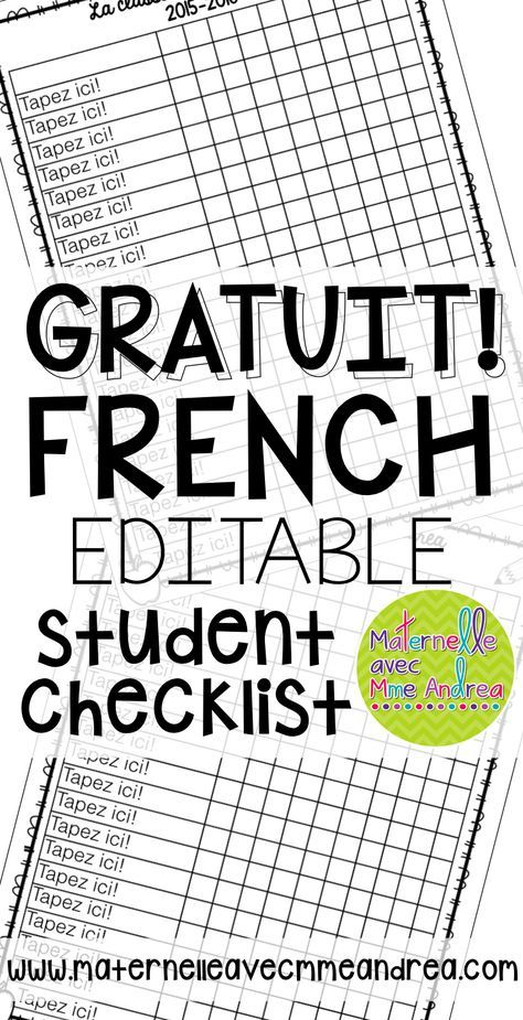 FREE Editable student checklist template GRATUIT Francais - Un - editable checklist template