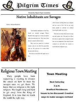 These two newspapers are a great resource for teaching both sides of the Pilgrims arriving in the New World. Students will be exposed to both newspapers are differing points of views. $1.00