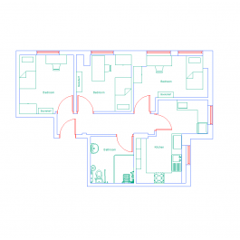 Student Halls Of Residence Flat Cad Drawing  Autocad Drawing Inspiration Autocad For Kitchen Design Decorating Inspiration