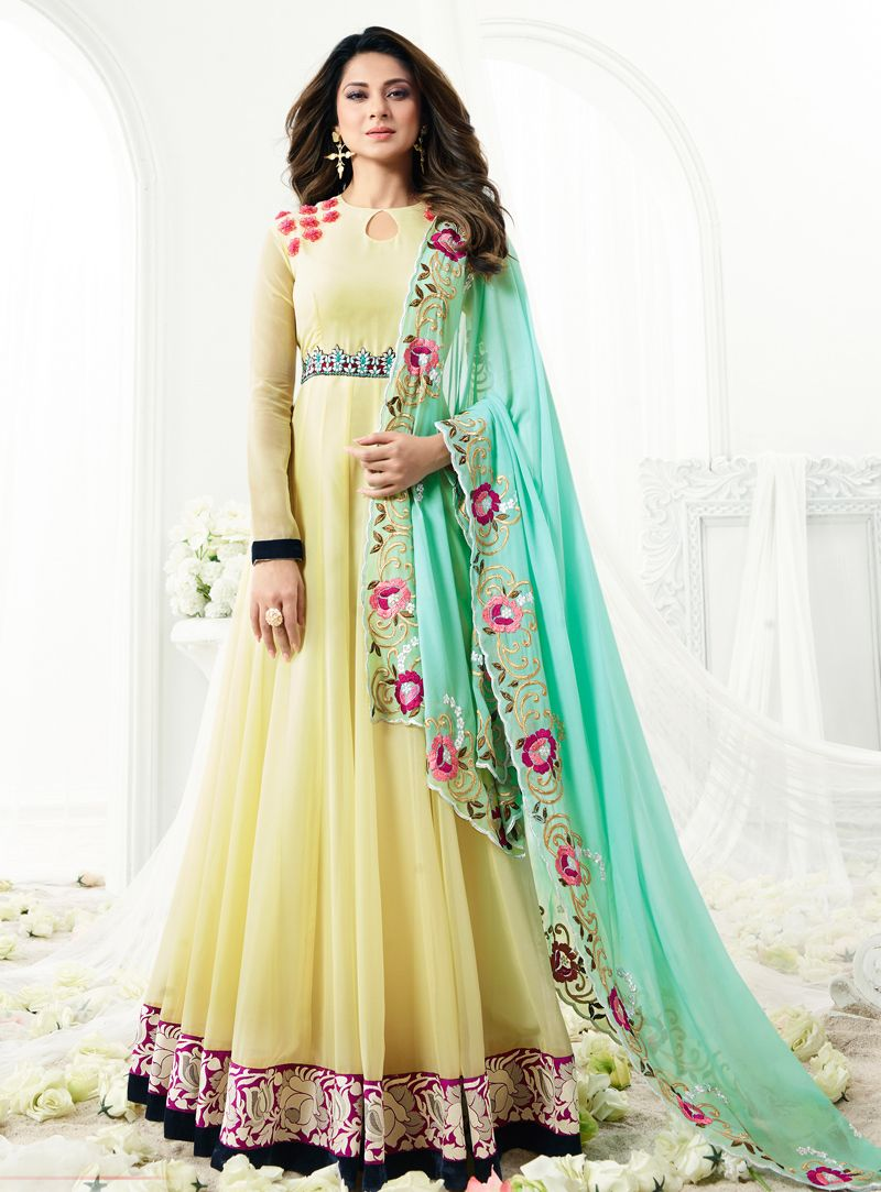 e3286259dd Jennifer Winget Cream Georgette Long Anarkali Suit 96957 | Indian ...