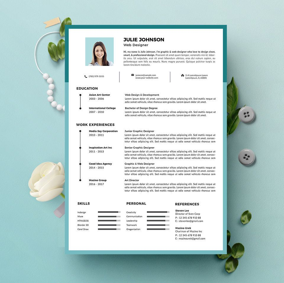 Resume Cv Template For Microsoft Word Cv Template Cover Letter Diy Printable Professional Modern And Creative Resume Design By Hitoresume On Etsy