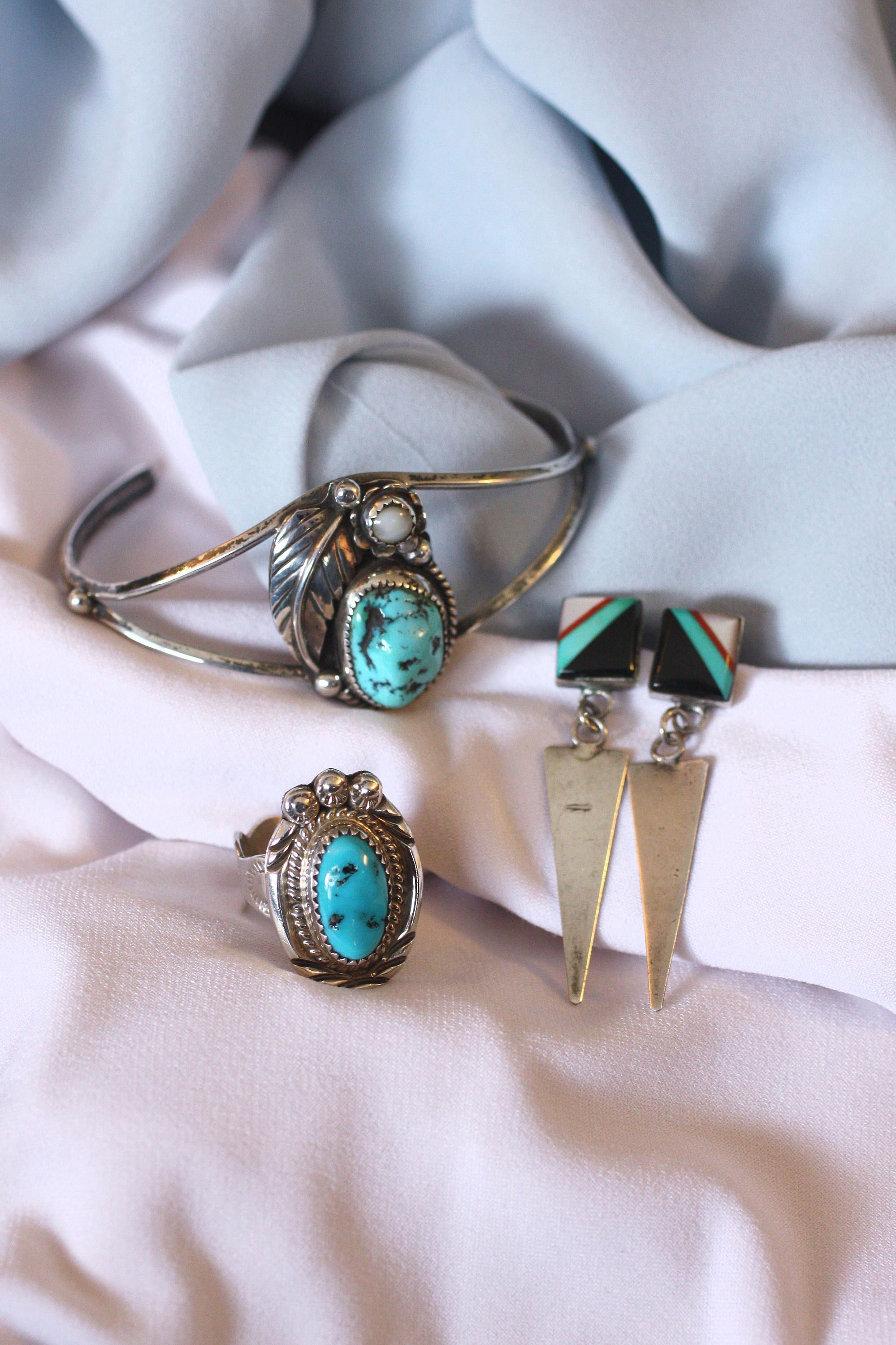 Post Twisted Rope Wrapped Oval Oxidized Turquoise Sterling Silver Stud Earrings
